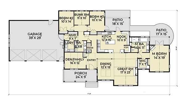 Ranch Floor Plan - Main Floor Plan Plan #1070-9
