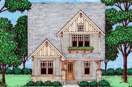 Cottage Exterior - Front Elevation Plan #413-870