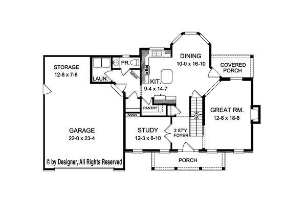 House Plan Design - Colonial Floor Plan - Main Floor Plan #1010-209