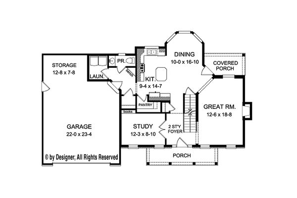 Colonial Floor Plan - Main Floor Plan Plan #1010-209