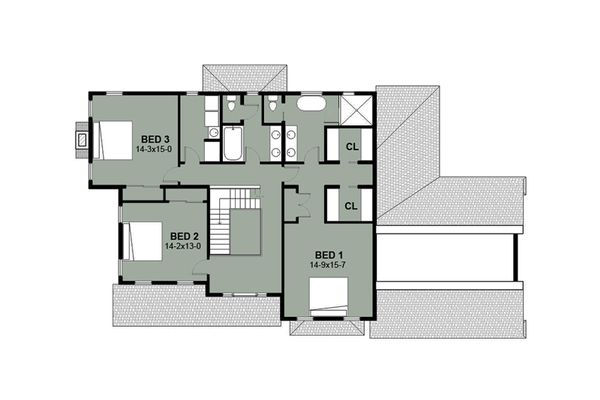 Farmhouse Floor Plan - Upper Floor Plan Plan #497-11