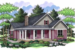 Country Exterior - Front Elevation Plan #51-486