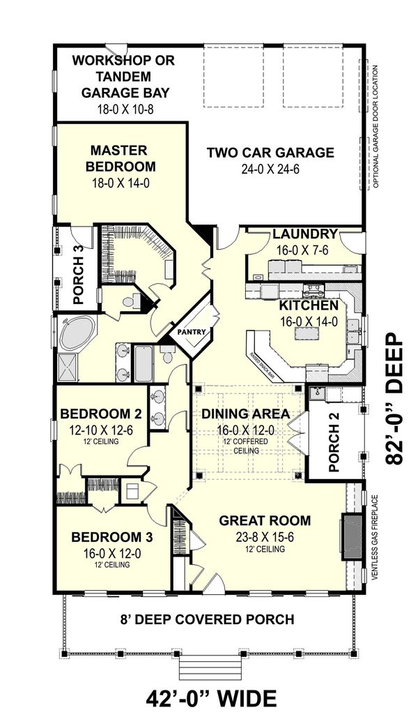 Traditional Style House Plan - 3 Beds 2 Baths 2208 Sq/Ft Plan #44-193 Floor Plan - Main Floor Plan