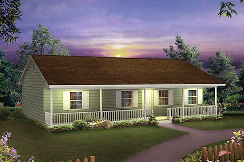 Ranch Style House Plan - 3 Beds 2 Baths 1285 Sq/Ft Plan #57-160 Exterior - Front Elevation
