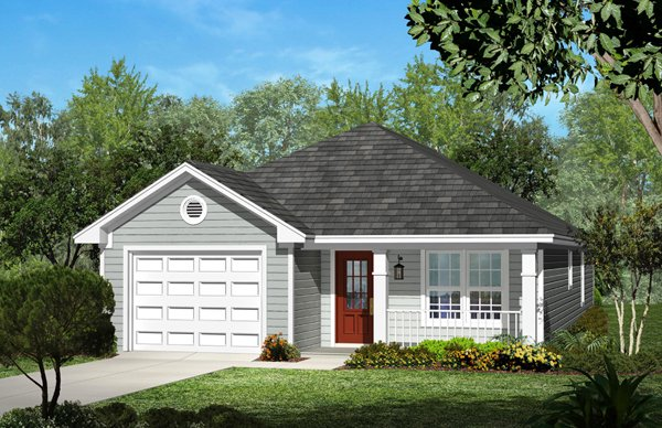 Cottage Style House Plan - 3 Beds 2 Baths 1250 Sq/Ft Plan #430-39 Exterior - Front Elevation