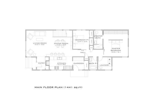 Modern style, bungalow design house plan, main level floor plan