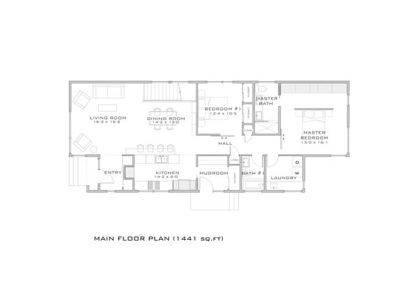 Modern style, bungalow design house plan, main level floor plan