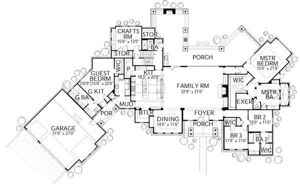 Dream House Plan - Prairie Floor Plan - Main Floor Plan #80-211