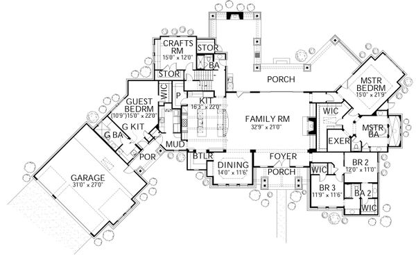 Prairie Floor Plan - Main Floor Plan Plan #80-211