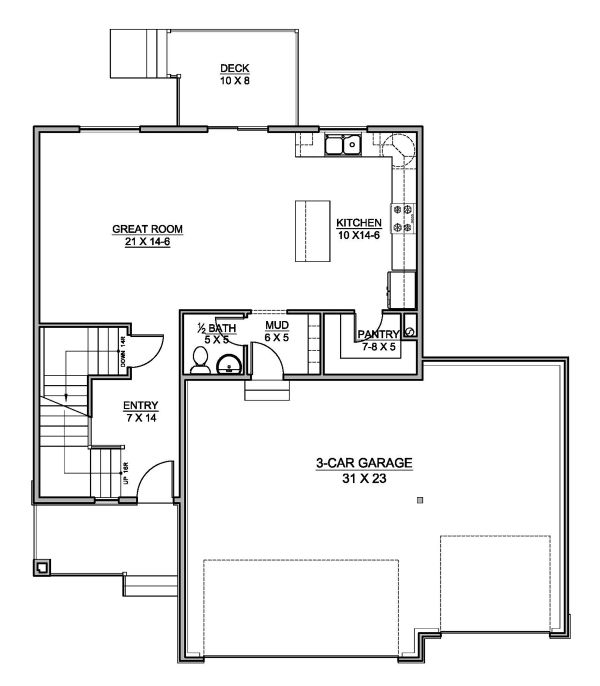 Traditional Floor Plan - Main Floor Plan Plan #1073-7