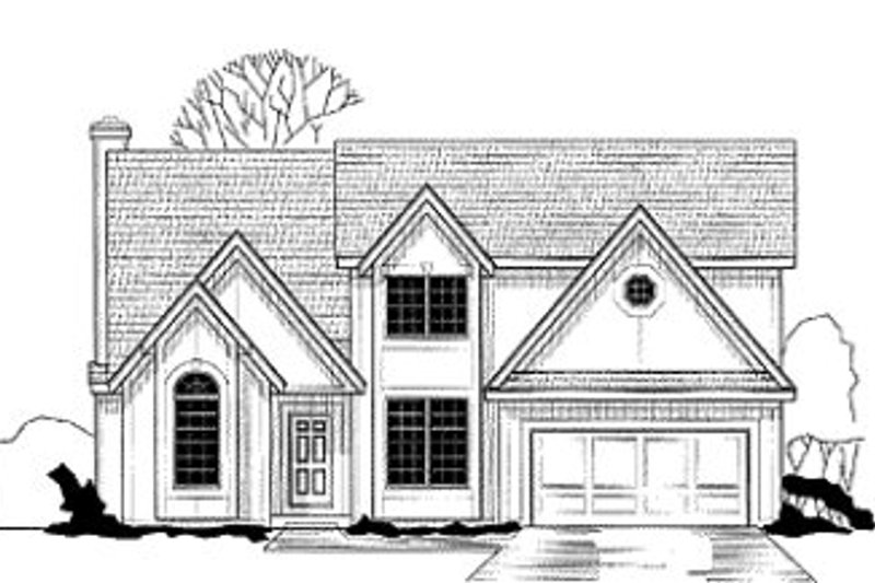 European Style House Plan - 4 Beds 3.5 Baths 2539 Sq/Ft Plan #67-118 Exterior - Front Elevation