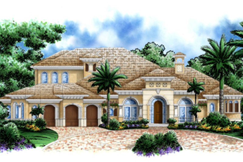 Mediterranean Style House Plan - 4 Beds 4.5 Baths 5049 Sq/Ft Plan #27-430 Exterior - Front Elevation
