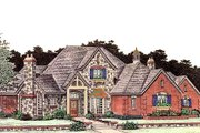 European Style House Plan - 4 Beds 3.5 Baths 3923 Sq/Ft Plan #310-194 Exterior - Front Elevation