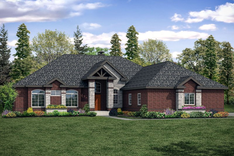 European Style House Plan - 3 Beds 2.5 Baths 2864 Sq/Ft Plan #124-1144 Exterior - Front Elevation