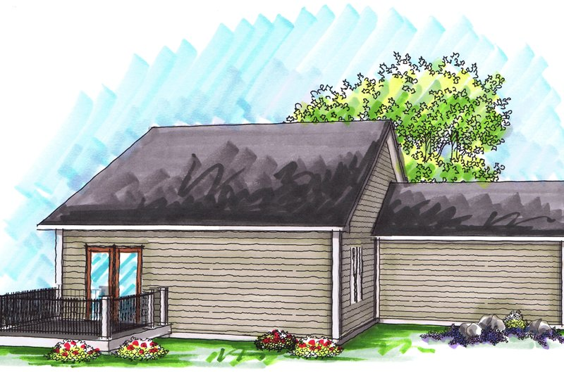 Ranch Exterior - Rear Elevation Plan #70-1018 - Houseplans.com