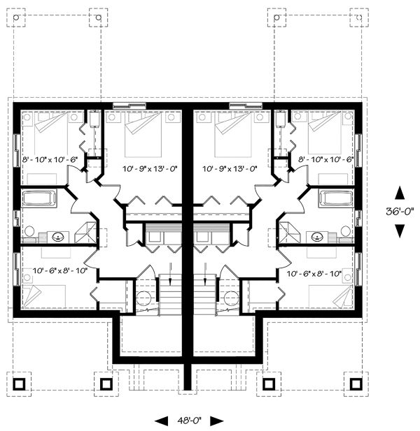 Architectural House Design - Craftsman Floor Plan - Lower Floor Plan #23-2694