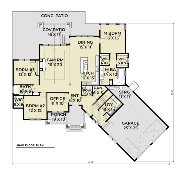 Craftsman Floor Plan - Main Floor Plan Plan #1070-15