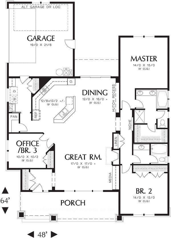Main level floor plan - 1900 square foot Craftsman Home