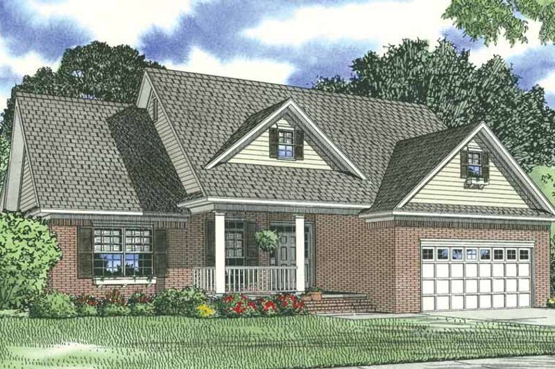 Traditional Style House Plan - 3 Beds 2 Baths 1723 Sq/Ft Plan #17-1175 Exterior - Front Elevation