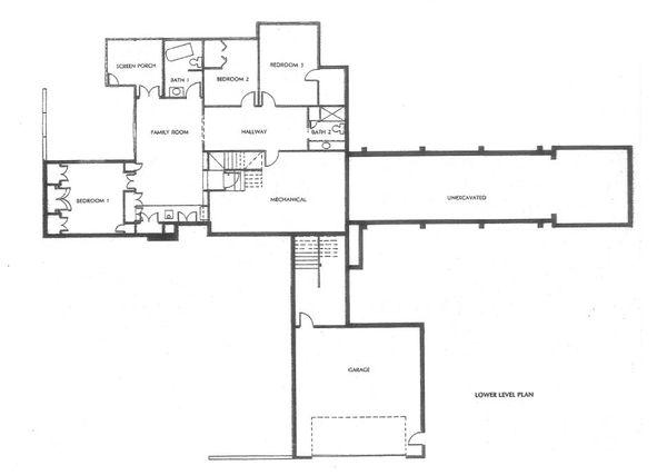 Prairie Floor Plan - Lower Floor Plan Plan #454-10