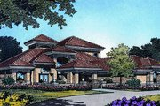 European Style House Plan - 3 Beds 3.5 Baths 4152 Sq/Ft Plan #417-421 Exterior - Front Elevation