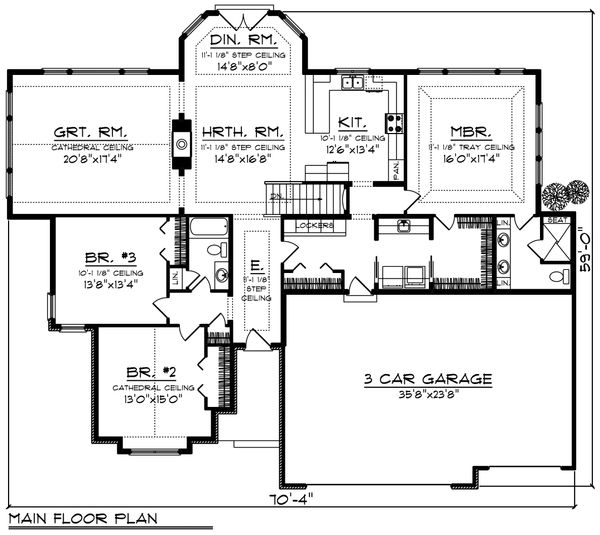 Ranch Floor Plan - Main Floor Plan Plan #70-1217