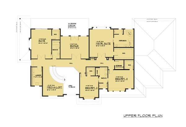 Traditional Floor Plan - Upper Floor Plan Plan #1066-78