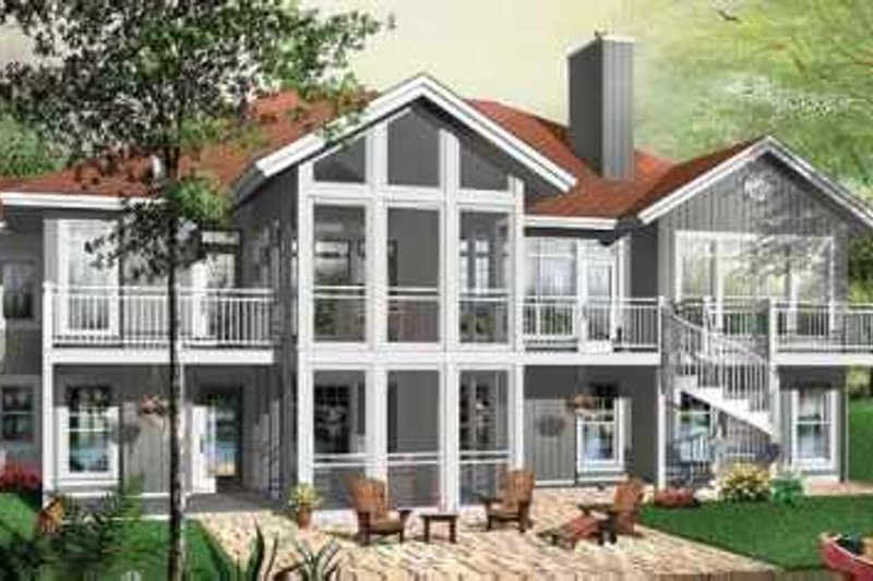 Contemporary Style House Plan - 5 Beds 4 Baths 3930 Sq/Ft Plan #23-418 Exterior - Front Elevation