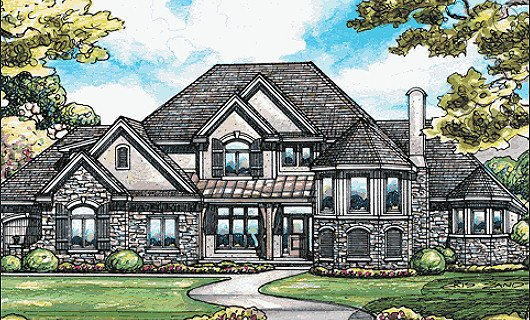 European Style House Plan - 4 Beds 5 Baths 4269 Sq/Ft Plan #20-2047 Exterior - Front Elevation