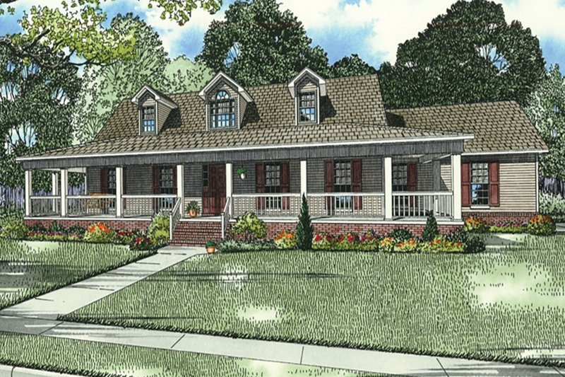 Country Style House Plan - 3 Beds 3 Baths 1921 Sq/Ft Plan #17-2594