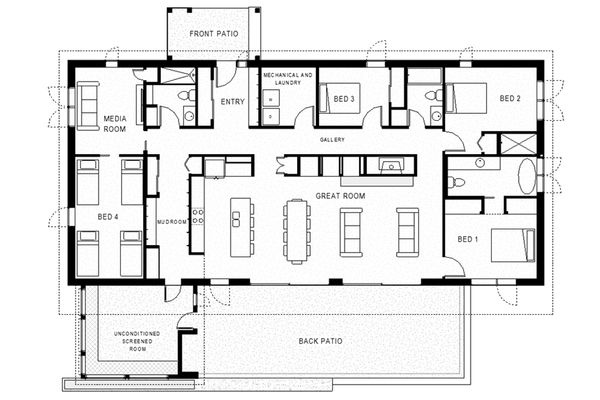 Modern Floor Plan - Main Floor Plan Plan #497-37