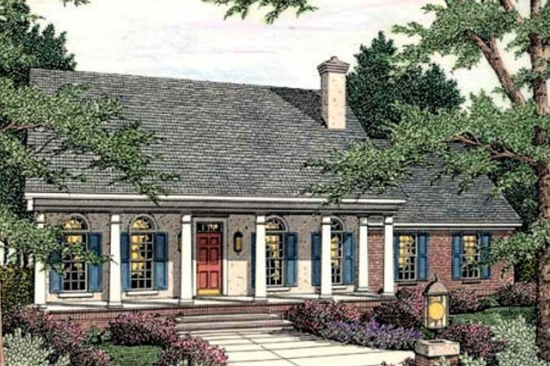 Southern Exterior - Front Elevation Plan #406-279