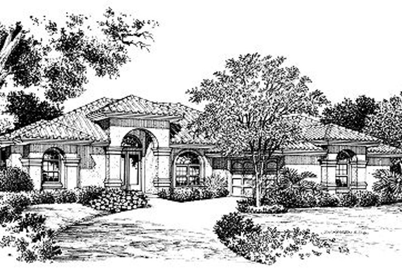 Mediterranean Style House Plan - 3 Beds 2.5 Baths 1834 Sq/Ft Plan #417-158 Exterior - Front Elevation