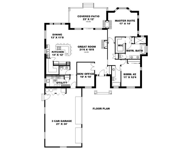 House Plan Design - Ranch Floor Plan - Main Floor Plan #117-876