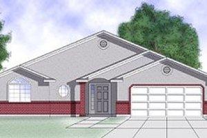 Adobe / Southwestern Exterior - Front Elevation Plan #5-107