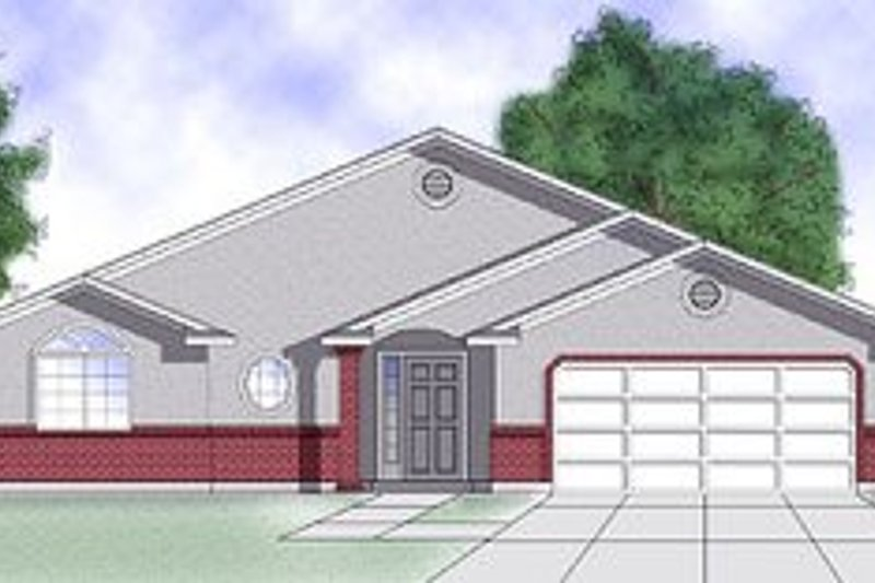 Adobe / Southwestern Style House Plan - 3 Beds 2 Baths 1227 Sq/Ft Plan #5-107 Exterior - Front Elevation