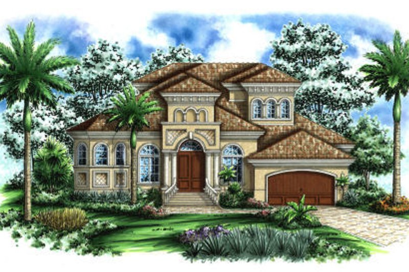 Mediterranean Style House Plan - 5 Beds 4.5 Baths 4105 Sq/Ft Plan #27-380 Exterior - Front Elevation