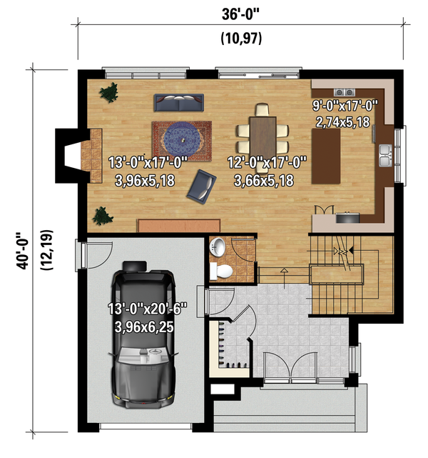 Contemporary Floor Plan - Main Floor Plan Plan #25-4314