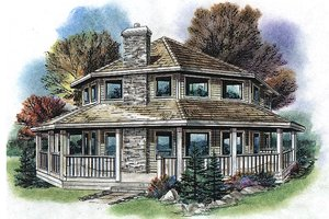 Country Exterior - Front Elevation Plan #18-296