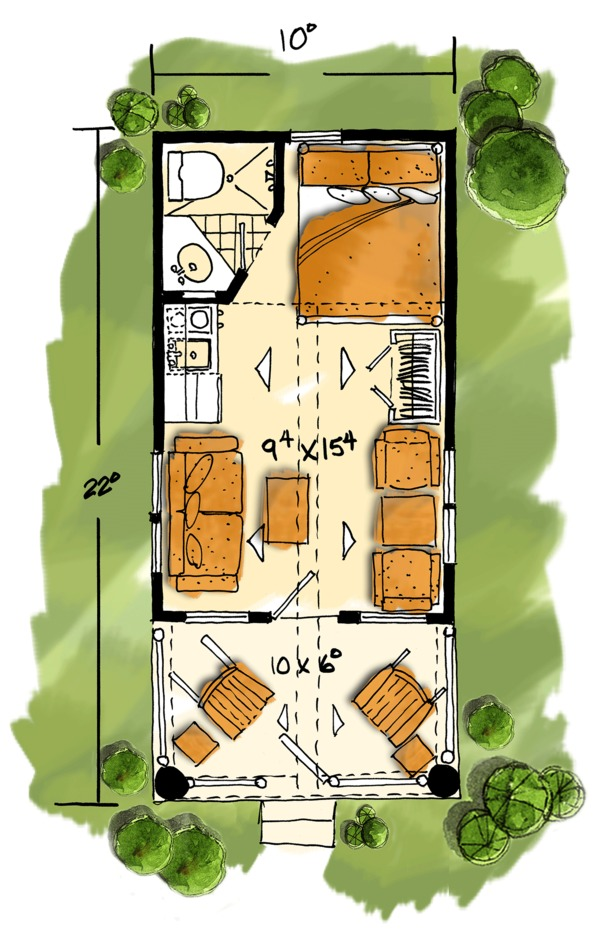 Log Floor Plan - Main Floor Plan Plan #942-45