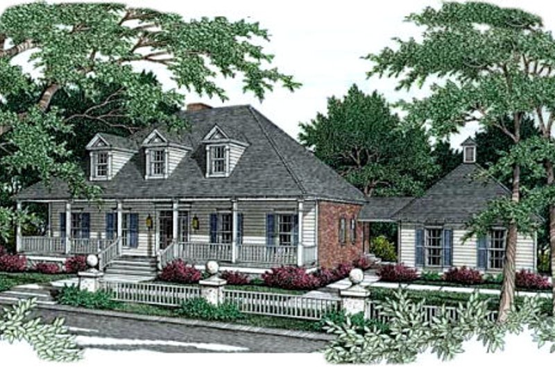 Southern Exterior - Front Elevation Plan #406-177 - Houseplans.com