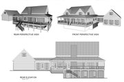 Farmhouse Style House Plan - 4 Beds 3.5 Baths 2972 Sq/Ft Plan #56-205 Exterior - Rear Elevation