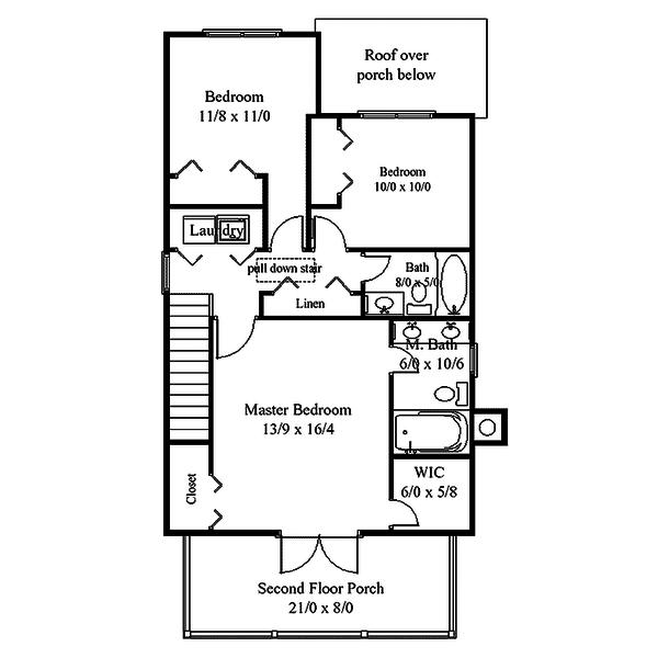 Southern Style House Plan - 3 Beds 2.5 Baths 1760 Sq/Ft Plan #312-732 Floor Plan - Upper Floor Plan