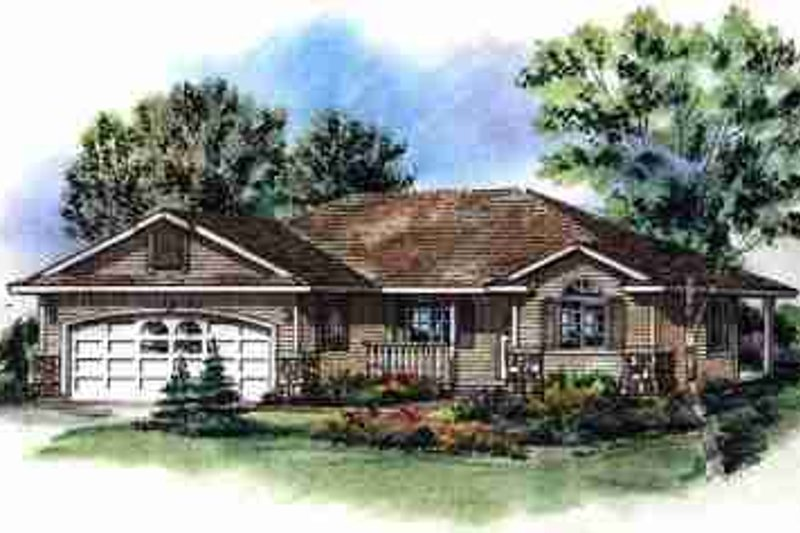 Traditional Exterior - Front Elevation Plan #18-1002 - Houseplans.com