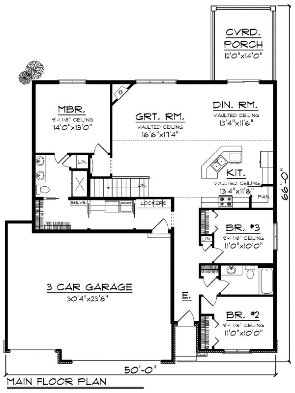 Ranch Floor Plan - Main Floor Plan #70-1162