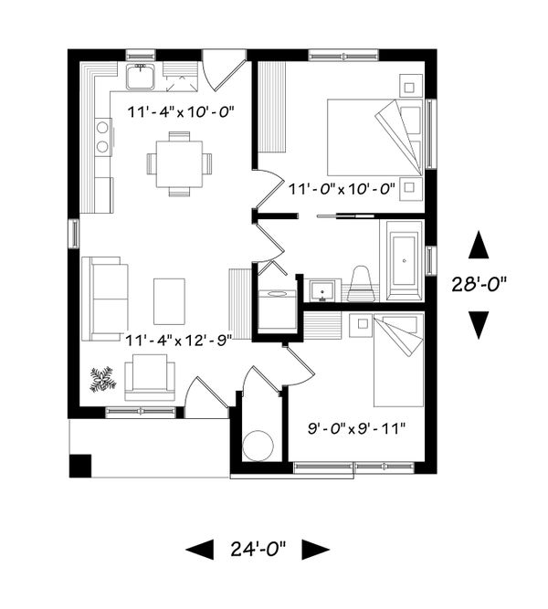 Contemporary Floor Plan - Main Floor Plan Plan #23-2299