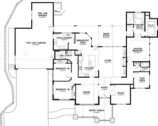 Craftsman Floor Plan - Main Floor Plan #895-36