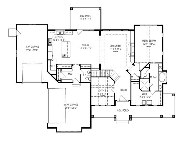 Craftsman Floor Plan - Main Floor Plan Plan #920-105
