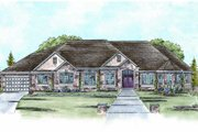 European Style House Plan - 3 Beds 3 Baths 2932 Sq/Ft Plan #20-1755 Exterior - Front Elevation