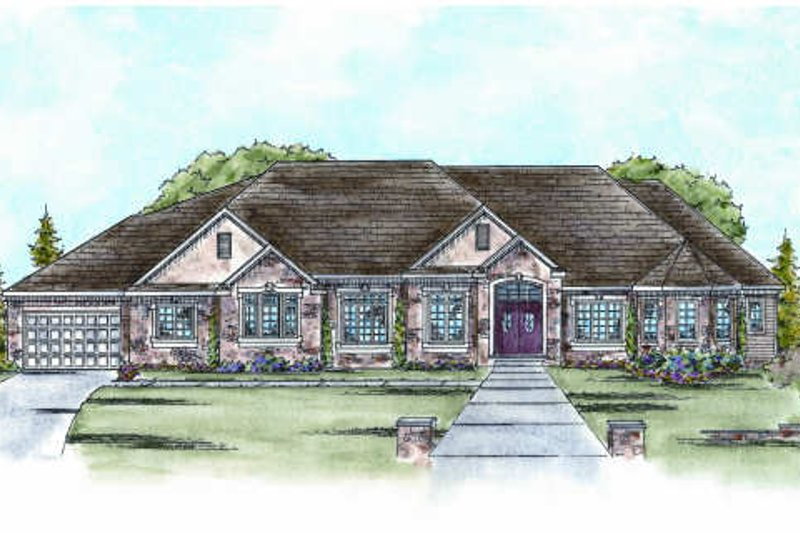 European Exterior - Front Elevation Plan #20-1755 - Houseplans.com